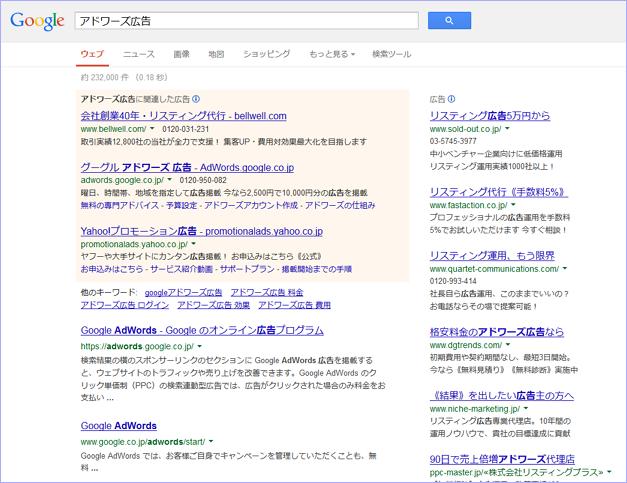 Google検索結果のデザイン変更に伴う「アドワーズ広告」表示の新旧比較