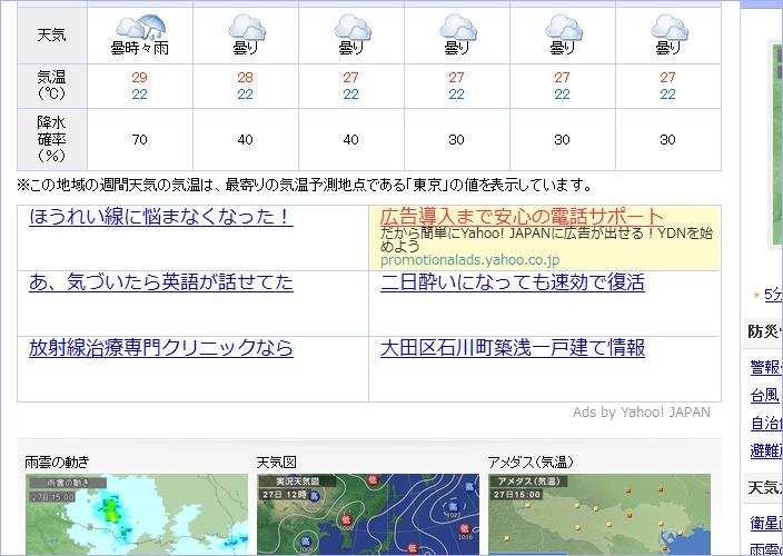 YDN広告の新しい表示形式を「Yahoo!天気」で確認