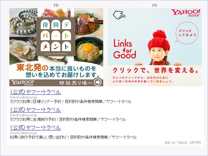 ヤフートラベルのYDN広告が配信枠を占拠しております