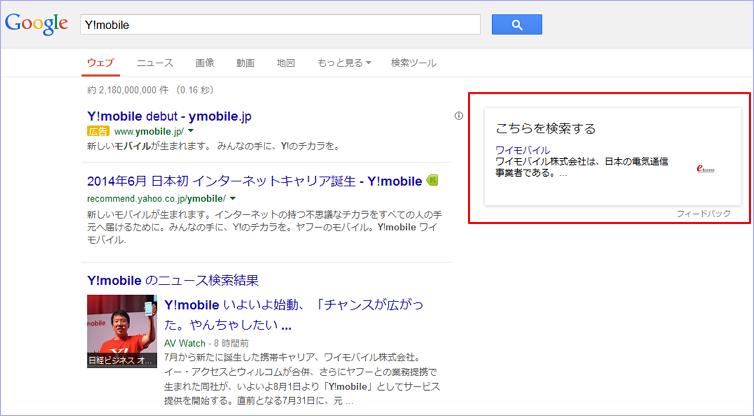 Googleで早速「Y!mobile」と検索した結果